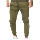 Mens Fashion Colorblock Side Drawstring Waist Skinny-Fit Cotton Pencil Pants