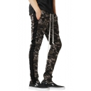 Mens Fashion Classic Camo Printed Colorblocked Side Drawstring Waist Skinny Cotton Joggers Pencil Pants