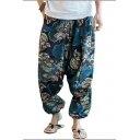 Retro Ethnic Tribal Printed Elastic-Waist Comfort Linen Loose Bloomers Wide-Leg Pants for Men