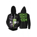 New Stylish 3D Comic Printed Funny Letter DOOMIE DOOM Back Zip Up Loose Fit Black Hoodie