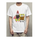Funny Cute SpongeBob Print Basic Short Sleeve Casual White T-Shirt