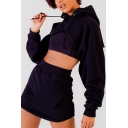 Trendy Wide Long Sleeves Open-Front Open-Back Cropped Hoodie with High Waist Mini Skirt