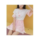 Rabbit Letter Printed Color Block Hollow Out Short Sleeve Tee with Lace Up Side Mini A-Line Skirt Co-ords