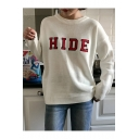 Fashion Letter HIDE Embroidered Crewneck Long Sleeve Loose Fitted Sweater