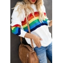 New Trendy Long Sleeve Round Neck Colorblock Shimmer Rainbow Printed White Loose Stylish Sweater