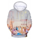 Girl Group Fashion 3D Letter Figure Print Casual Sport Pullover Hoodie