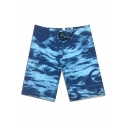Fashion Blue Printed Beach Pants Men's Drawcord Surfing Swim Shorts with Cargo Side Pockets