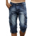Men's Vintage Style Washed Distressed Flap-Pocket Side Capri Fitted Cargo Shorts Denim Shorts
