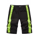 Trendy Colorblocked Elastic-Waist Sport Casual Relaxed Athletic Active Shorts