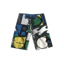 Mens New Stylish Lace-Up Drawstring Waist Cool Print Surfing Swim Trunks