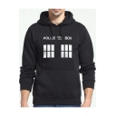 Street Style Letter POLICE BOX Graphic Printed Sport Casual Hoodie