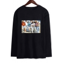 Beverly Hills 90210 Luke Perry Figure Print Loose Fit Long Sleeve T-Shirt