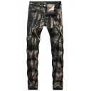 Men's Hot Popular Vintage Washed Stretch Fit Black and Bronze Jeans