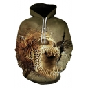Creative Gold Skull Printed Casual Loose Pullover Hoodie