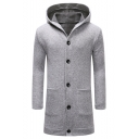 Men 's Trendy Pockets Button Closure Thick Solid Cardigan Hoodie Longline Coat
