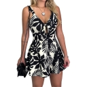 Women's Sexy Sleeveless Bow Tie Cut Out V-Neck Floral Printed Loose Rompers