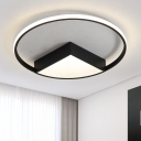 Thin Ring Ceiling Flush Mount Contemporary Acrylic Energy Saving LED Flush Mount in Black/White