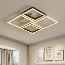 Black/White Square Frame Flush Light Contemporary Metal Surface Mount LED Light for Sitting Room