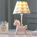 Single Light Cone Table Light with Blue/Pink Unicorn Base Children Room Fabric Table Lamp