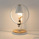Metallic Cone Table Light with Little Girl Modern Fashion Study Room Bedside 1 Light Table Lamp in White