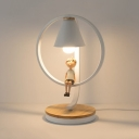 1 Light Circular Ring Table Lamp Children Room Metal Decorative Standing Table Light with White Cone Shade