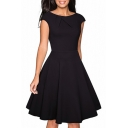 Retro Round Neck Solid Color Midi A-Line Flared Dress for Women