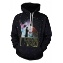 Star Wars 3D Galaxy Letter I LOVE YOU Printed Casual Sport Black Drawstring Hoodie