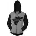 Game of Thrones Fashion Wolf Head Printed Long Sleeve Loose Fit Full Zip Hoodie