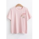 Cute Cartoon Letter DO NOT HIDE Embroidery Pocket Short Sleeve Girls Casual Tee