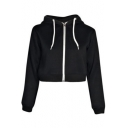 Hot Popular Long Sleeve Sport Loose Fit Zip Up Cropped Hoodie