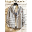 Guys New Fashion Irregular Striped Print Casual Relaxed Long Sleeve Over Shirt