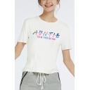 Cool Letter AUNTIE I'LL BE THERE FOR YOU Short Sleeve Round Neck Cotton White T-Shirt