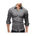 Men's Fashion Gingham Printed Comfort Cotton Slim Fit Button-Up Long Sleeve Shirt