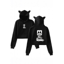 Marshmello Cute Smile Face Printed Cat Ear Design Long Sleeve Pullover Cropped Hoodie