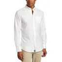 Men's Basic Simple Plain Chest Pocket Patched Long Sleeve Button-Down Slim Oxford Dress Shirt