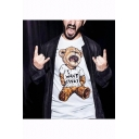 Lovely Cartoon Crying Teddy Bear Printed Round Neck Loose Casual Cotton T-Shirt