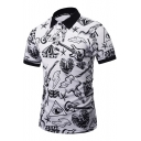 New Trendy Street Style Guitar Pattern Short Sleeve Guys Fitted White Polo Shirt