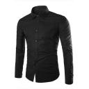 New Trendy Simple Plain Wrinkle-Free Long Sleeve Mens Non-Iron Button-Up Slim Dress Shirt