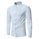 Mens New Stylish Pleated Detail Simple Plain Long Sleeve Button-Up Slim Shirt