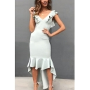Women's New Trendy Plain V-Neck Ruffled Hem Sleeveless Dipped Hem Bodycon Asymmetrical Dress