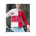 New Stylish Letter MGSM Colorblocked Long Sleeve Loose Casual Drawstring Hoodie for Guys