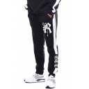 Guys New Fashion Cool Letter R Printed Drawstring Waist Cotton Black Sweatpants
