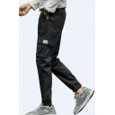 Guys Fashion Drawstring Waist Elasticized Cuff Casual Cotton Cargo Pants