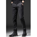 Men's Fashion Classic Plaid Printed Fitted Suit Pants Dress Pants