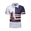 Star Flag Sailing Boat Printed Basic Short Sleeve Slim White Polo for Men