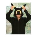 Umbreon Cute Comic Cosplay Costume Colorblocked Long Sleeve Zip Up Black Hoodie