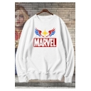 Captain Marvel Cool Printed Basic Round Neck Long Sleeve Pullover Sweatshirt