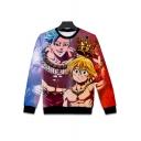 Cool Comic Character Pattern Crewneck Long Sleeve Pullover Sweatshirt
