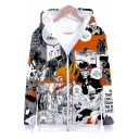 Comic 3D Character Pattern Sport Loose Zip Up Long Sleeve Hoodie