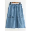Lovely Cartoon Rabbit Embroidery Elastic Waist Midi A-Line Denim Skirt